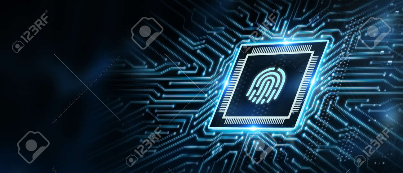 Fingerprint scan provides security. Business, technology, internet and networking concept. - 155589879