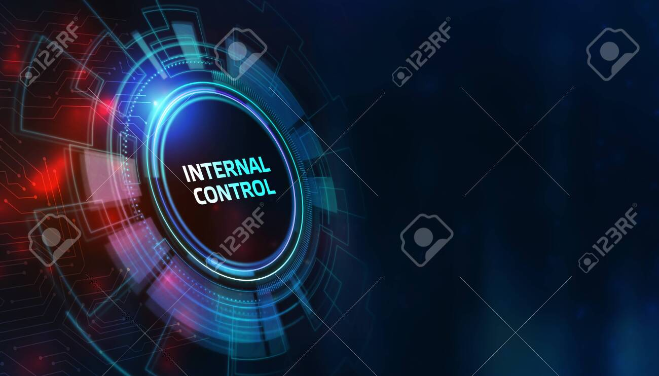 button internal control on virtual screens. Business, Technology, Internet and network concept. - 156902087