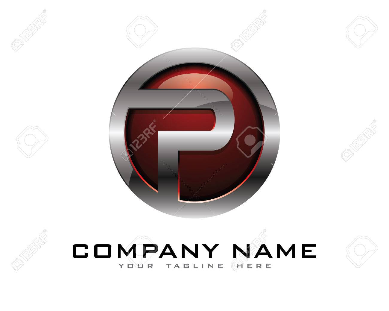 Letter P 3D Chrome Circle Logo Design Template Stock Vector