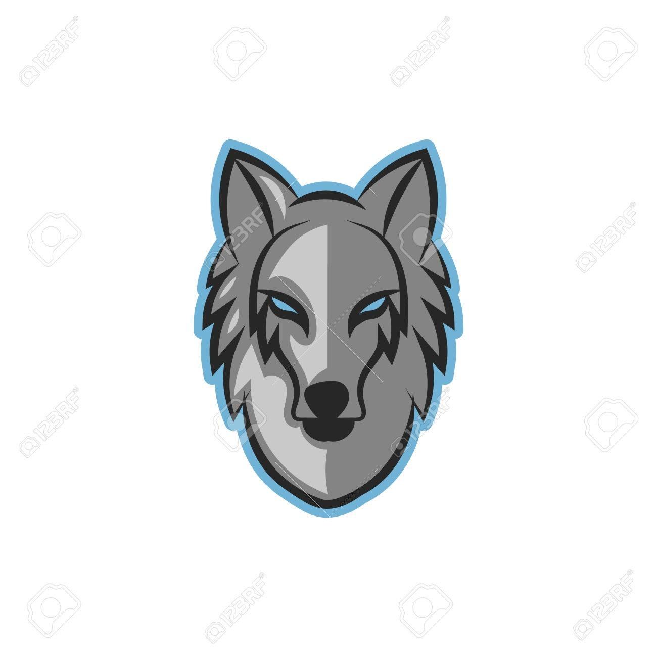 Wolf head logo blue