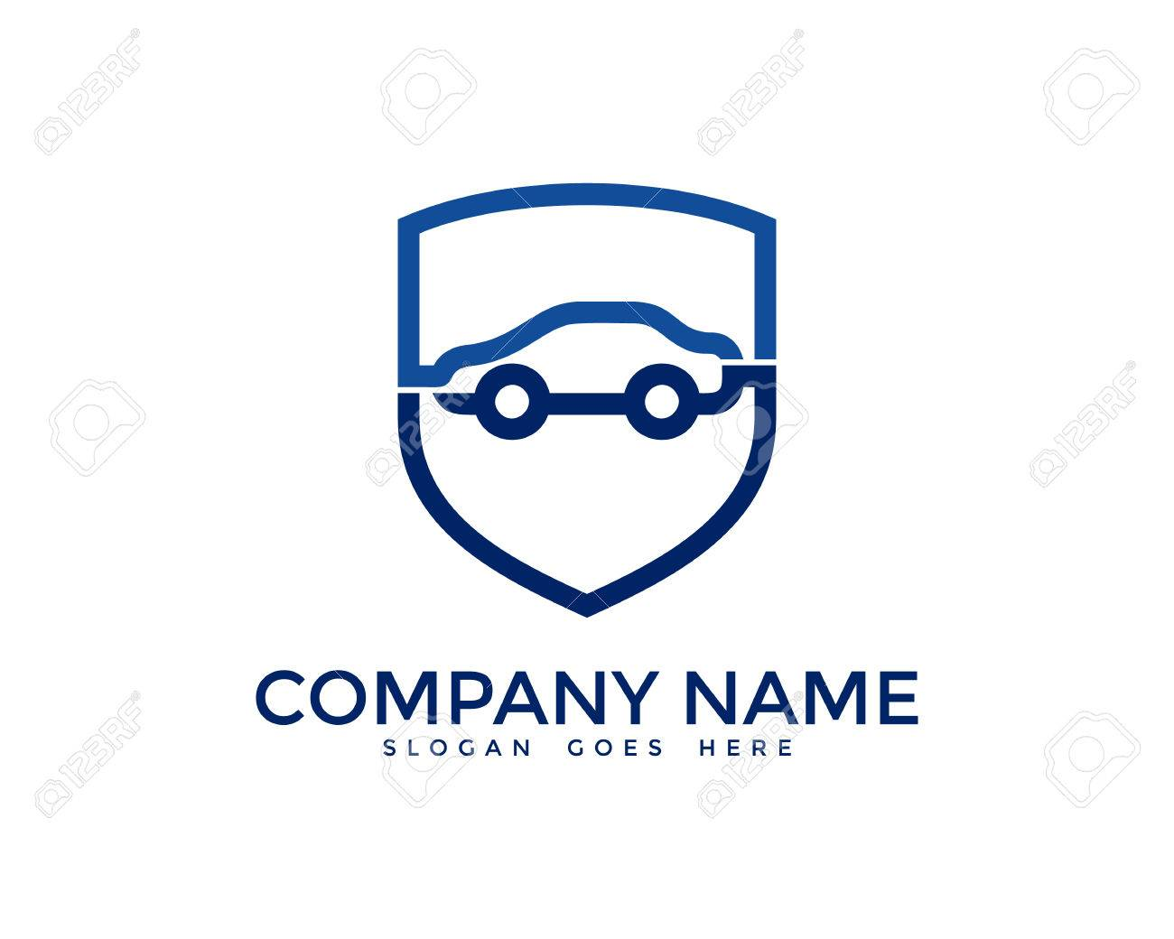Automotive Car Insurance Logo Design Template Royalty Free Cliparts