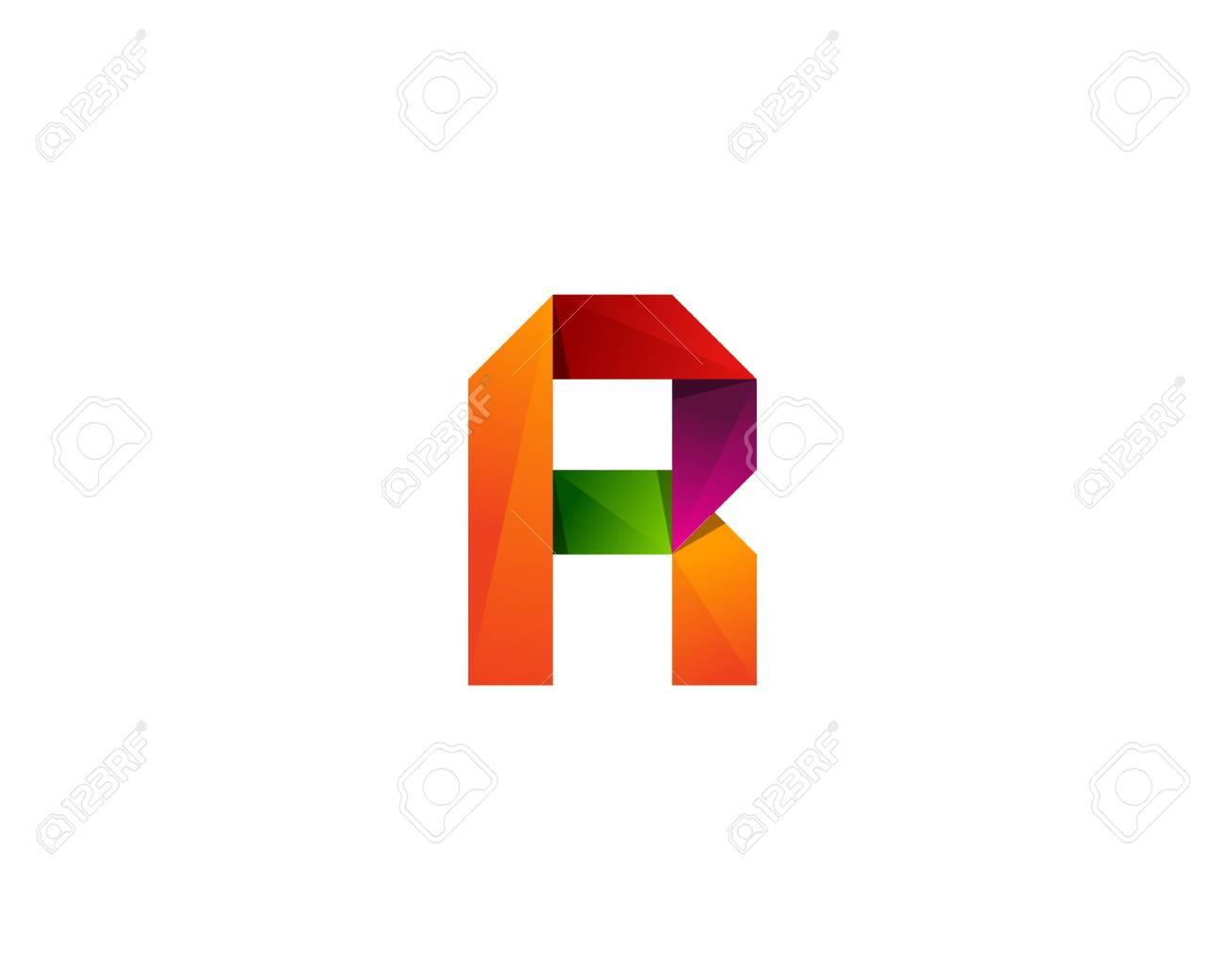 R Letter Color Ribbon Logo Design Element