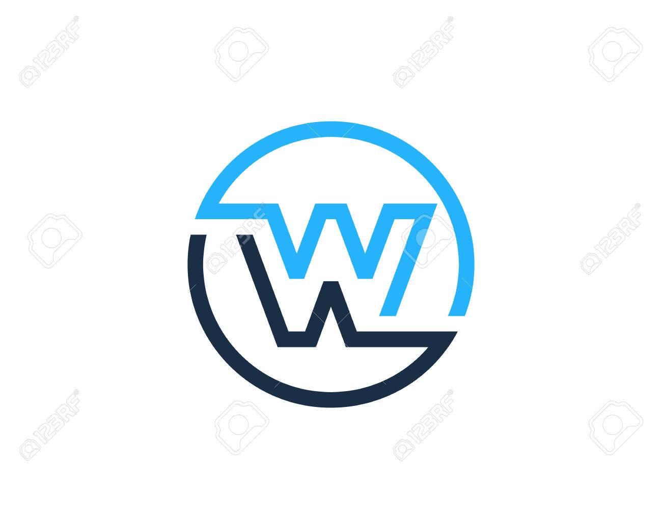 Letter W Circle Line Icon Logo Design Element - 80612099