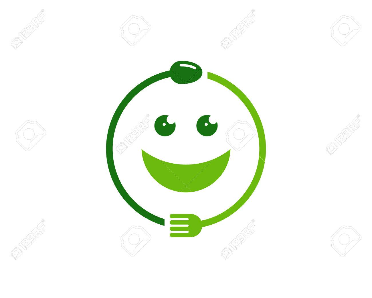 A concept illustration of fork and spoon wrap around into a smiley symbol.Food Icon Logo Design Element - 80612134
