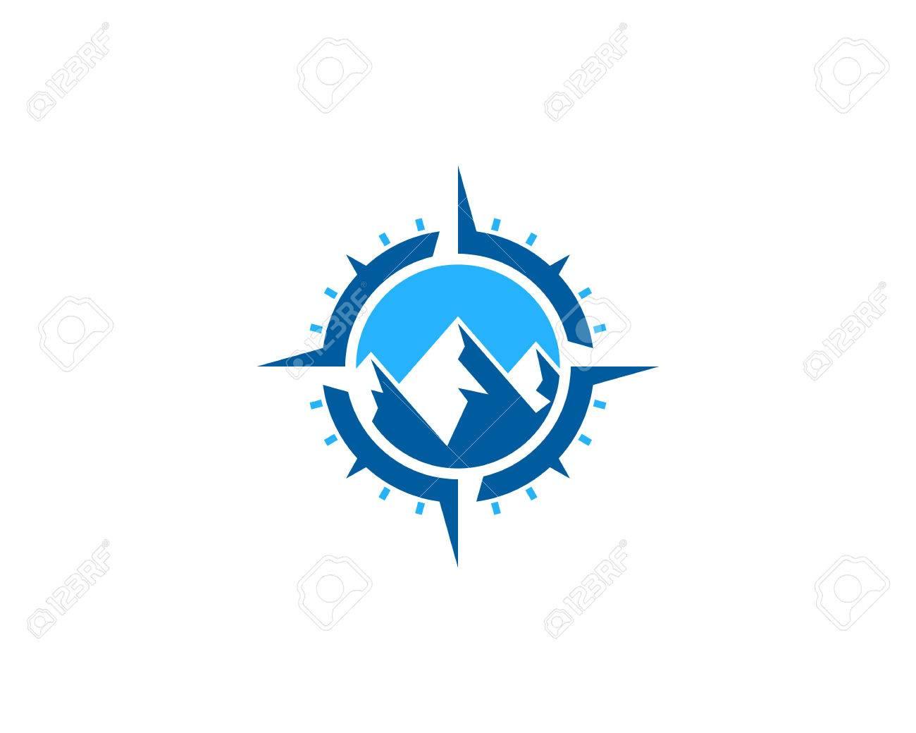 Mountain Compass Icon Logo Design Element - 80611181