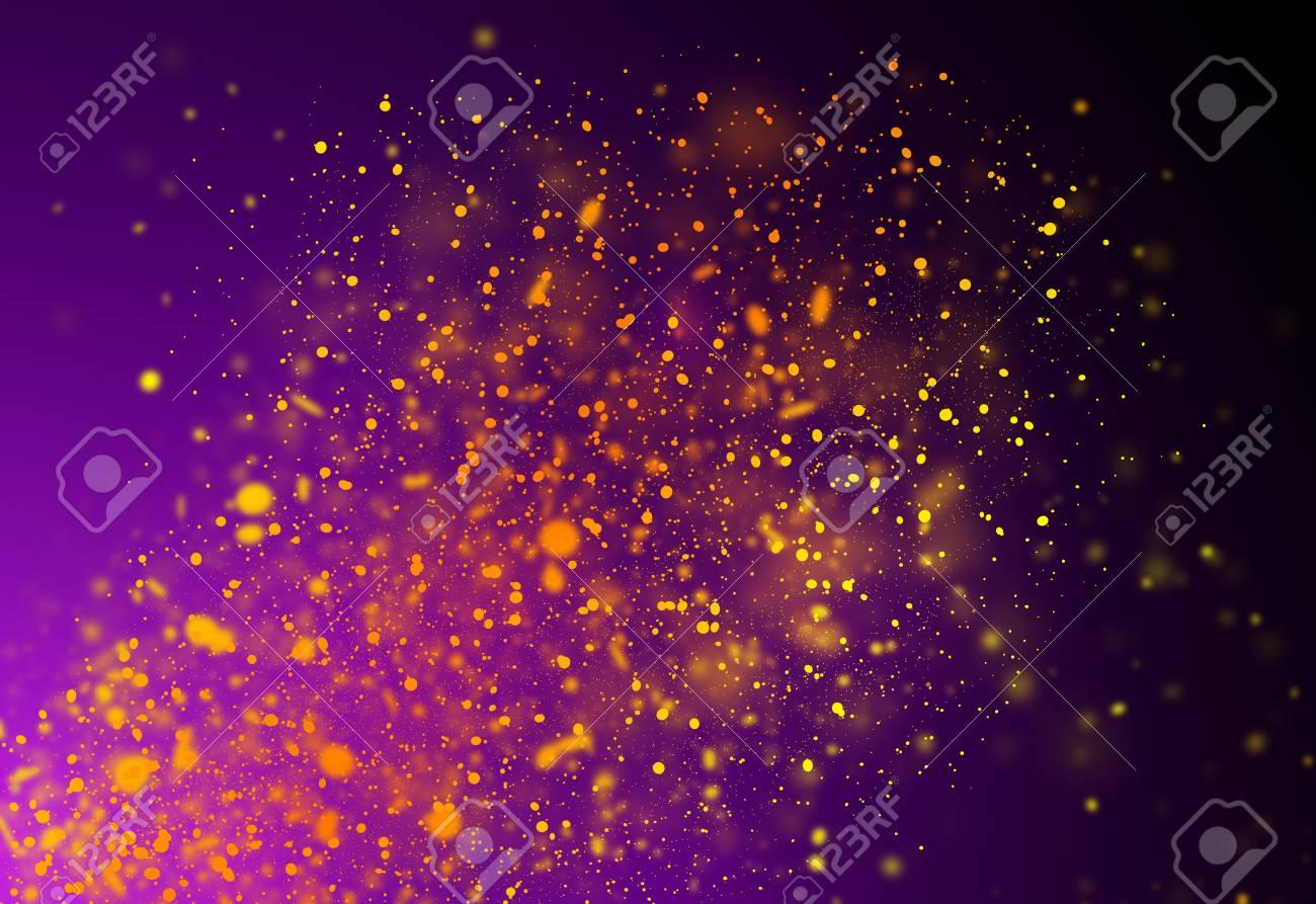 Dark Gold And Purple Glitter Sparkles Rays Lights Bokeh Festive