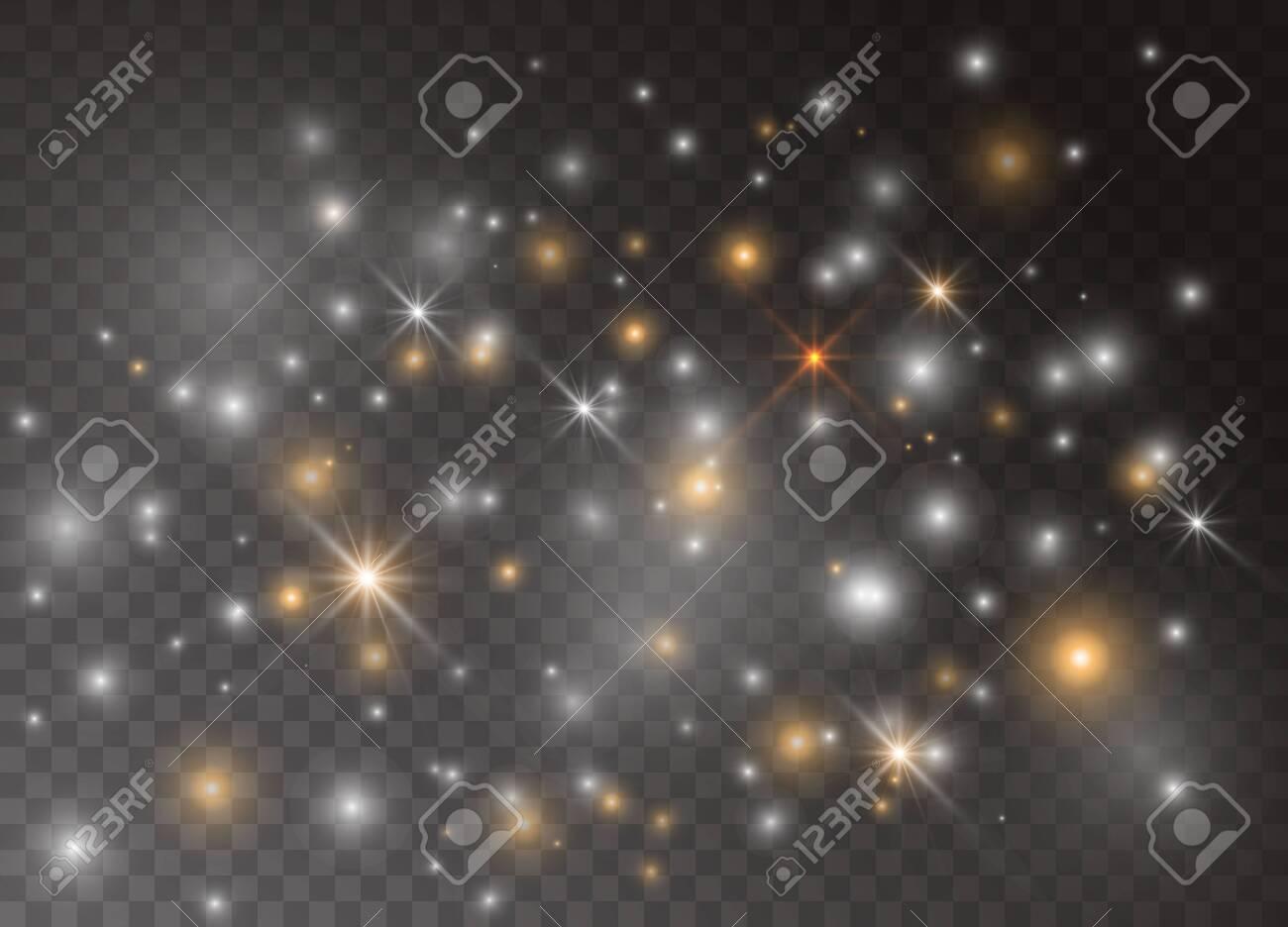 Light glow effect stars  Vector sparkles on transparent background