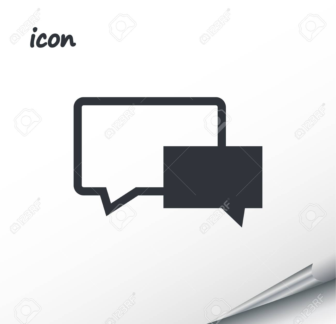 Vector icon Speech Bubbles on a wrapped silver sheet