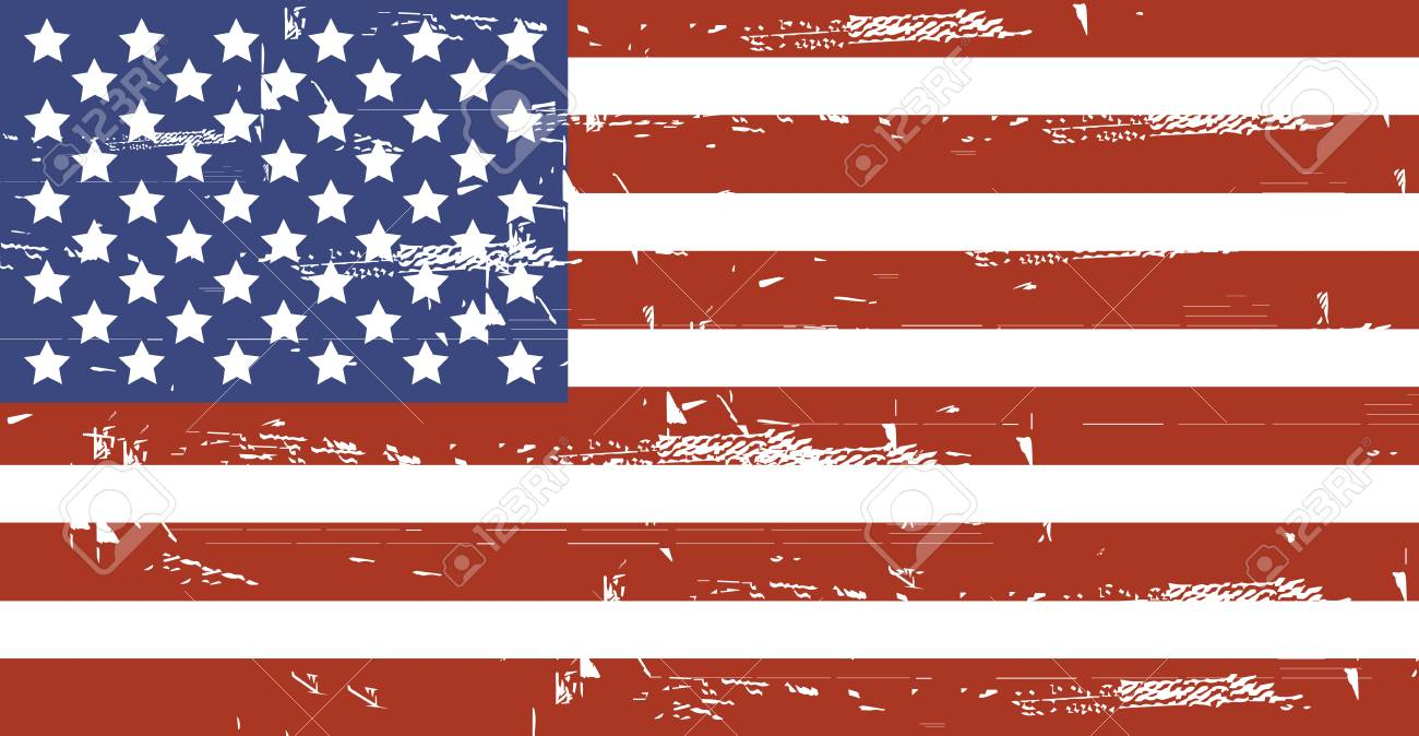 Grunge American flag.Vector dirty USA flag. - 125182266