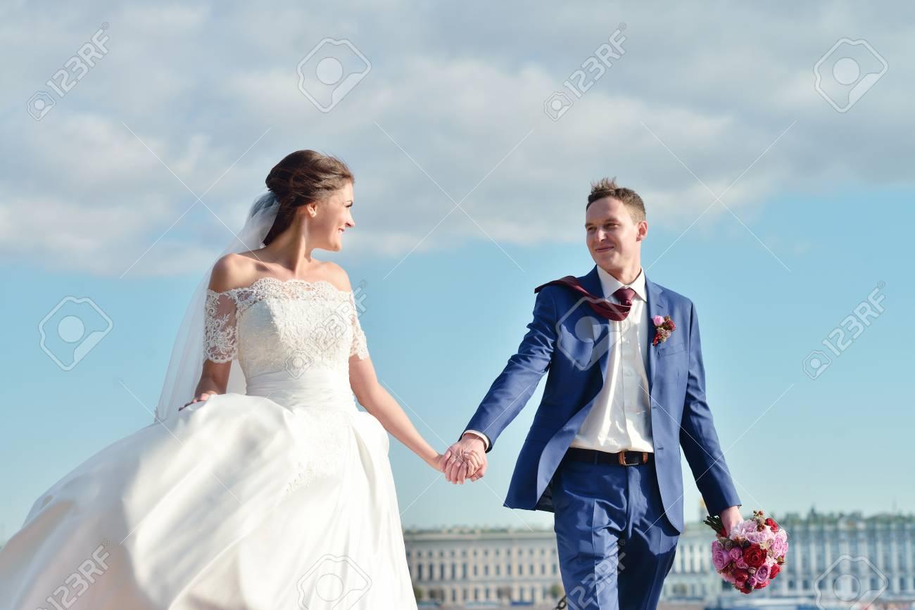 Wedding Couple On The Nature Is Walking. Beautiful Model Girl ...