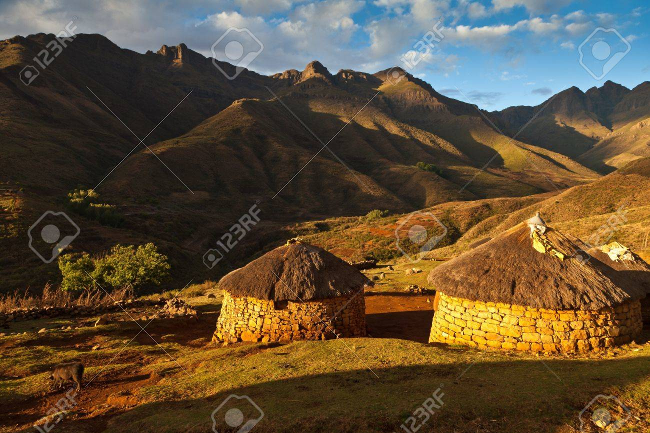 Primitive village in the mountains  in beautiful evening light Stock Photo - 12897921