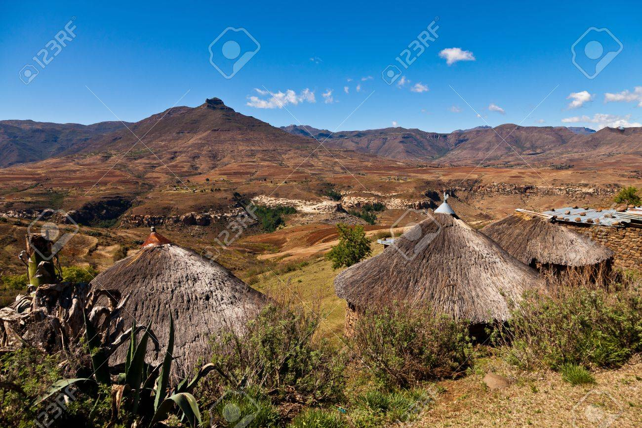 Mountain village  iin Africa on a sunny day Stock Photo - 12898027