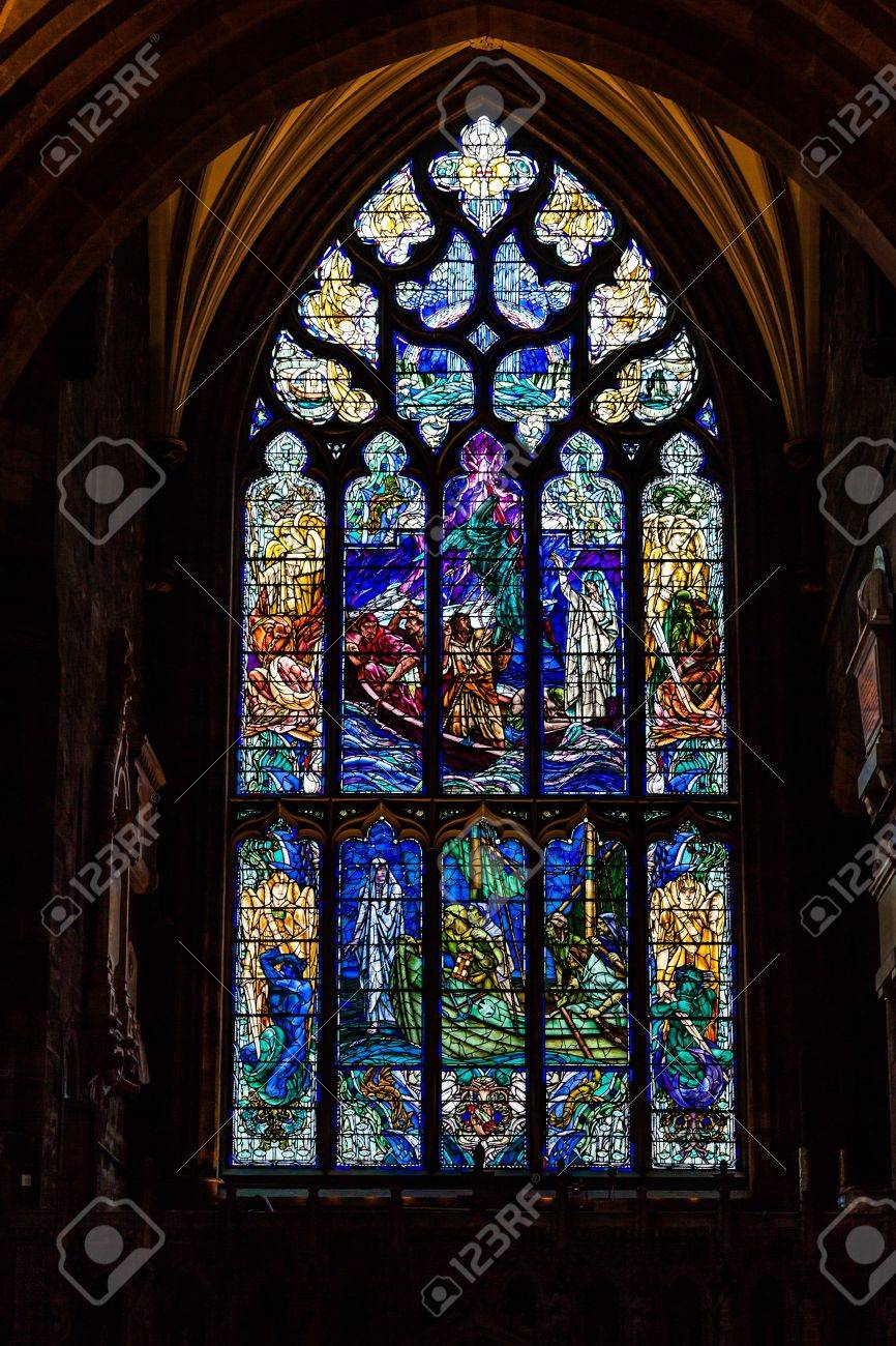 Stained Glass In A Medieval Church Window Stock Photo