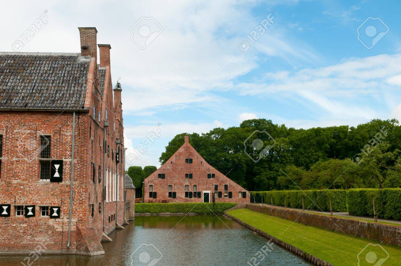 Old House With A Moat Around It Stock Photo Picture And Royalty