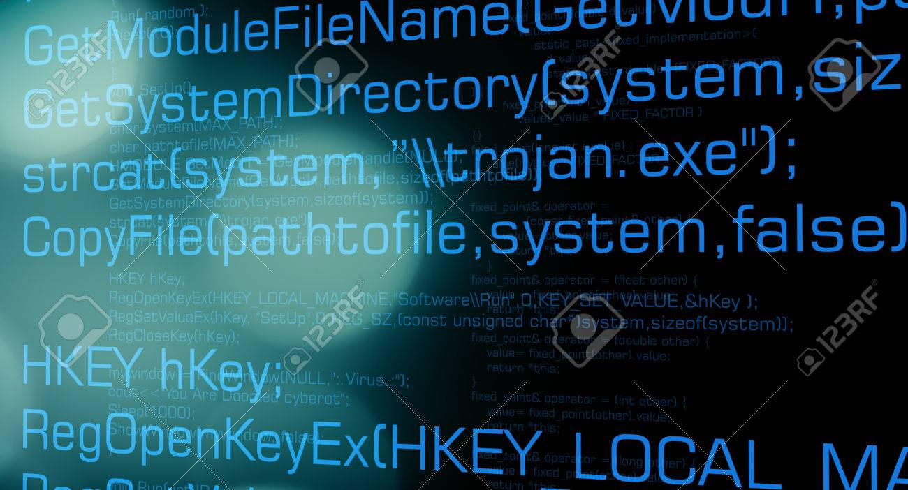 Trojan virus code, cyber security concept background