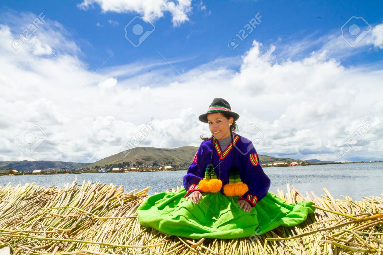 Young girl on a floating Uros island, Titicaca Stock Photo - 17862053
