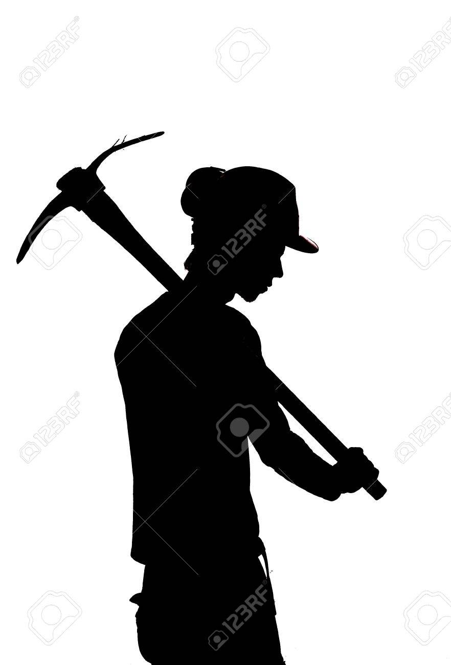 silhouette of a Mine worker with a pick Stock Photo - 18942542