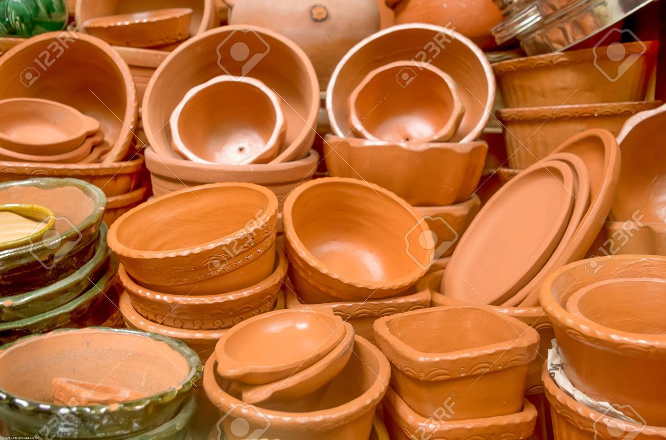 Delightful Ceramic Pots For Sale Part - 4: Ceramic Pots And Utensils Displayed For Sale Stock Photo - 19753259