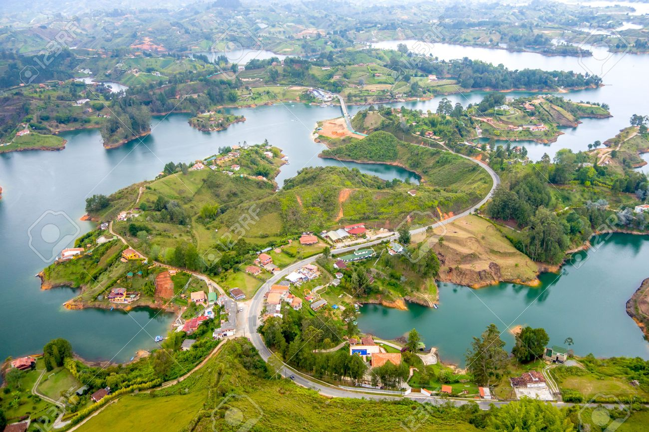 Guatape beautiful breathtaking aerial view of guatape in antioquia, colombia