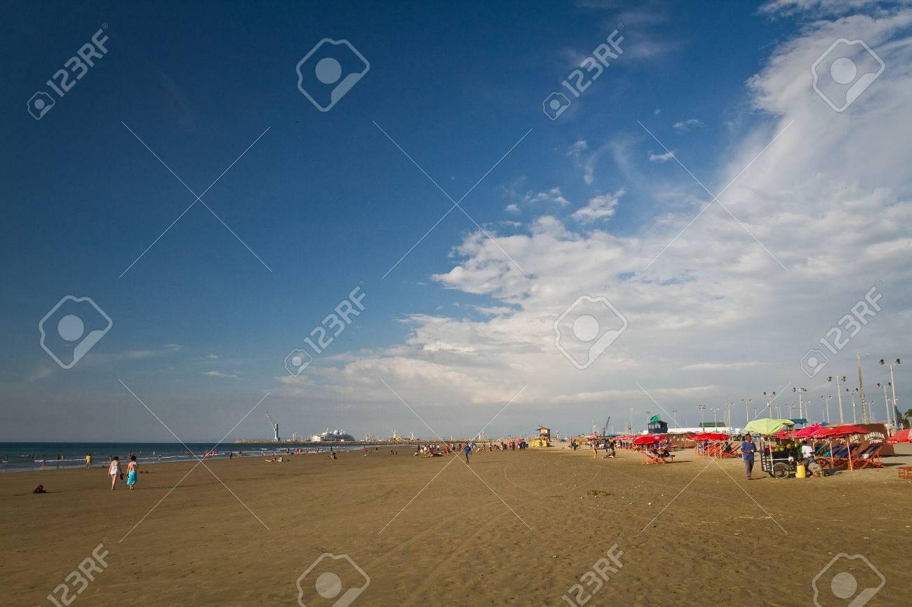 MANTA, ECUADOR - JUNE 1, 2012: Beautiful view of Murcielago beach