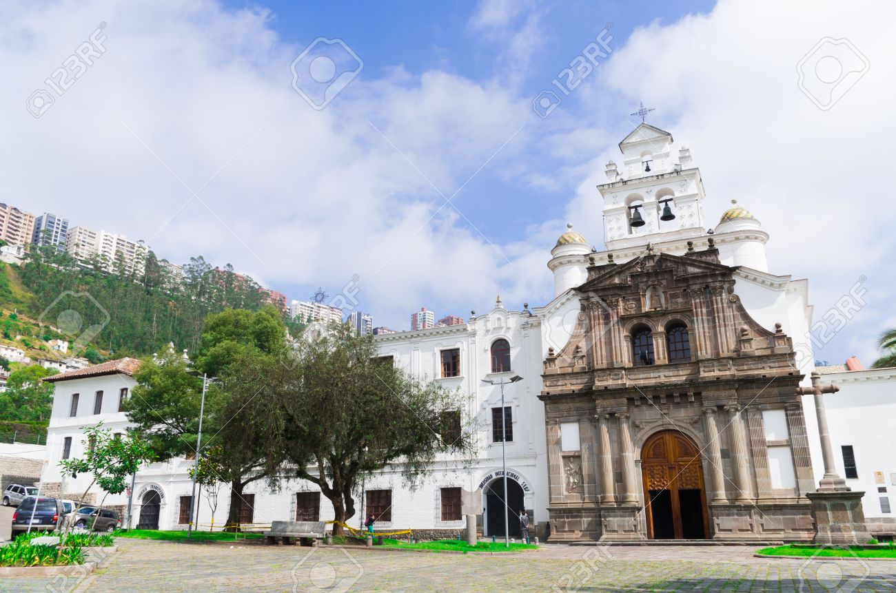 Front Entrance To Beautiful Church Of Guapulo Located In Quito