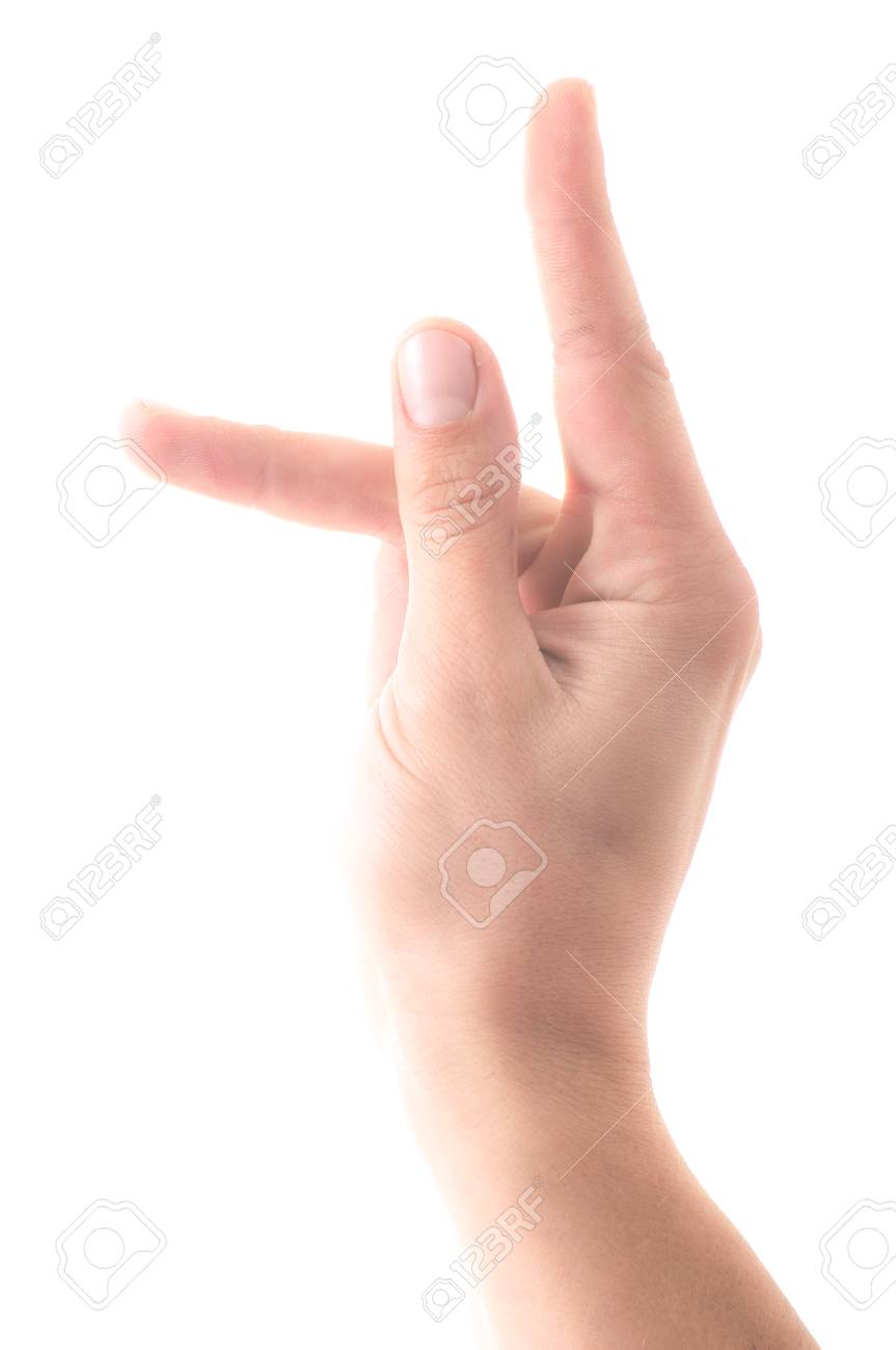 Letter K In Sign Language Hand On A White Background
