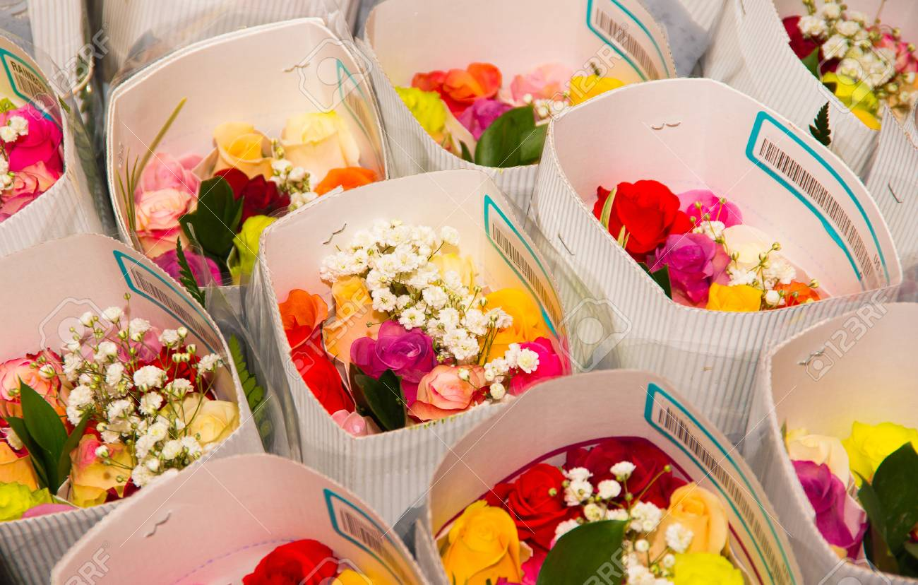 Bunch Of Beautiful And Colorful Different Type Of Flowers Stock
