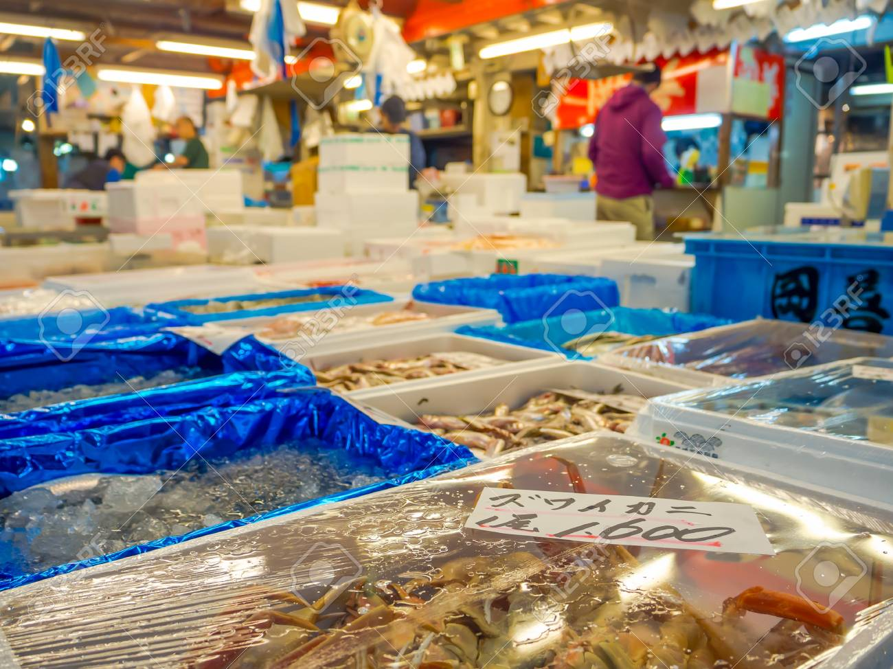 TOKYO, JAPAN JUNE 28 - 2017: Seafood for sale at the Fish Market