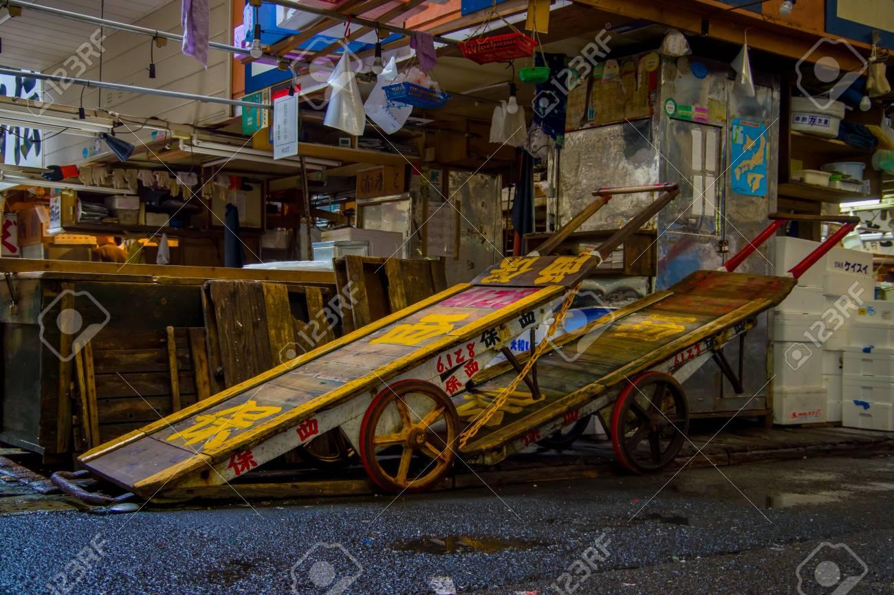 TOKYO, JAPAN JUNE 28 - 2017: Old rusted Flatbed Cart inside of