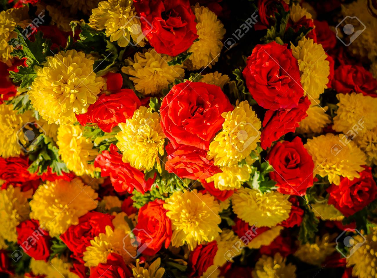 Close Up Of A Yellow And Red Flowers At Kr Market In Bangalore