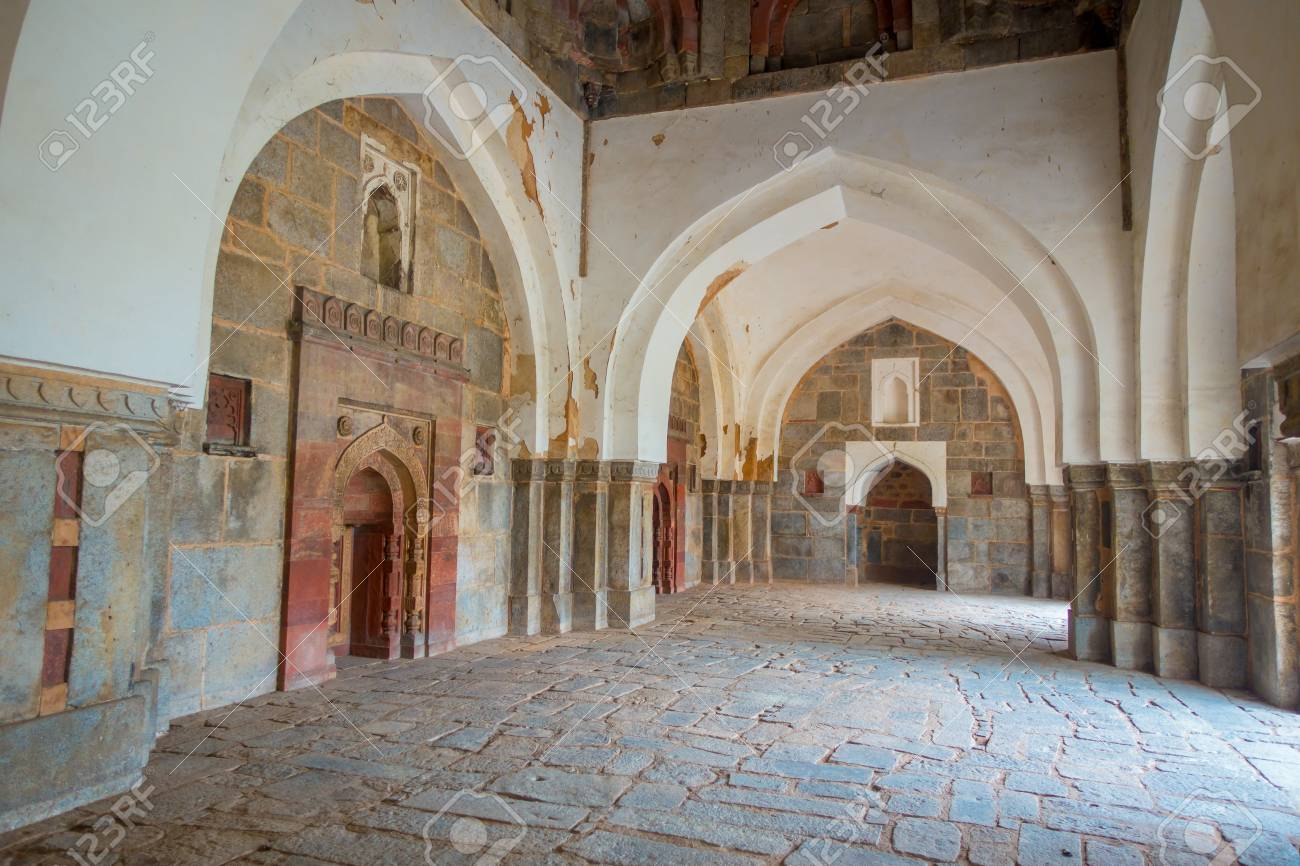 DELHI, INDIA - SEPTEMBER 19, 2017: Indoor view of Isa Khan Tomb
