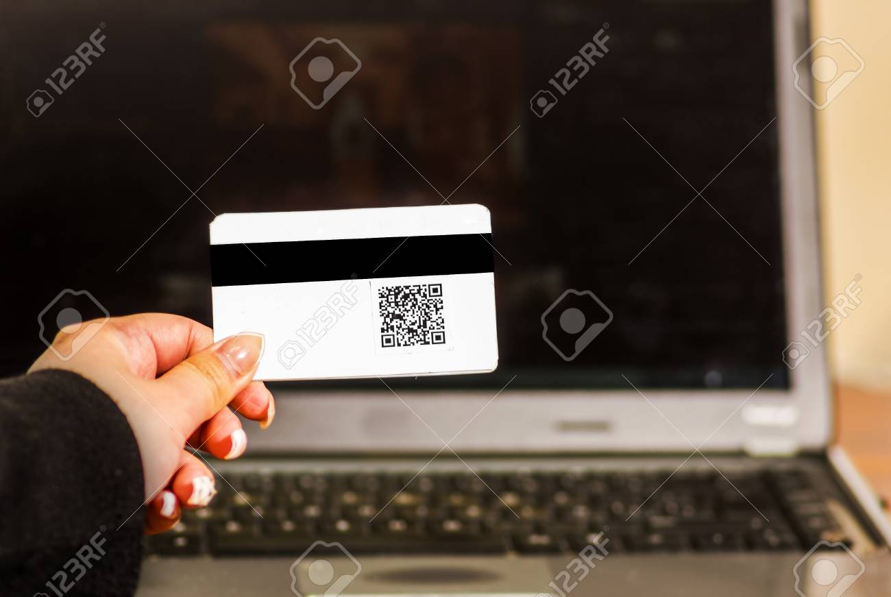 Close Up Of A Woman S Hand Showing Business Card With Qr Code
