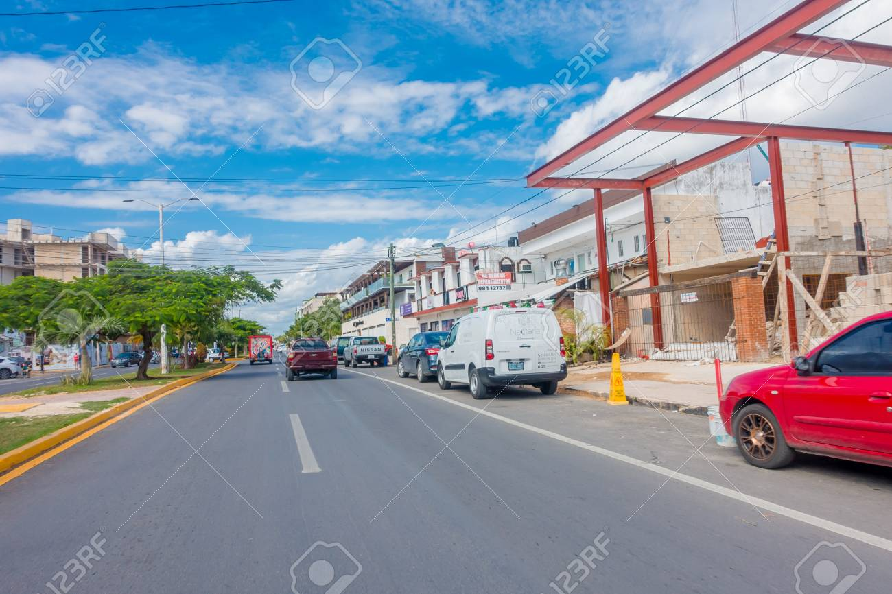 Playa del Carmen, Mexico - January 10, 2018: Outdoor view of