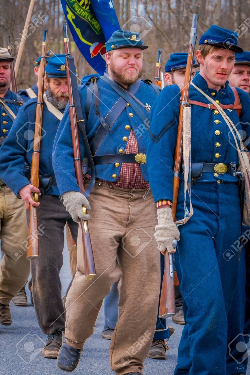 MOORPARK, CA, USA- APRIL 18, 2018: People, wearing Blue uniform