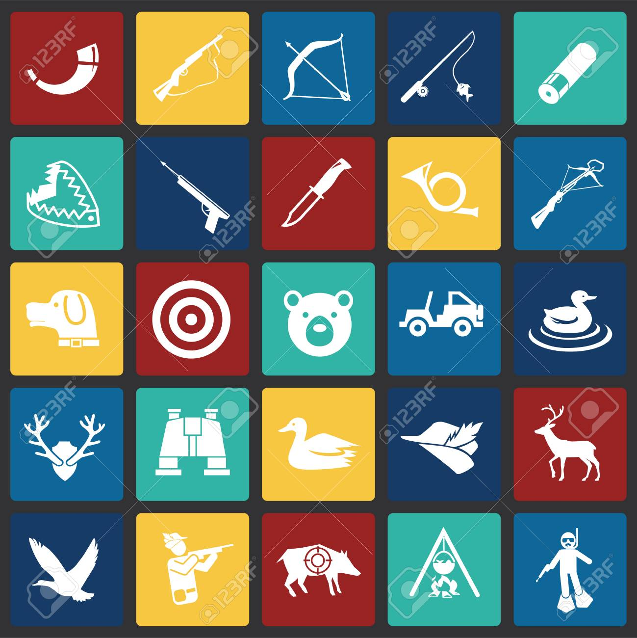 Hunting icon set on color squares background for graphic and web design, Modern simple vector sign. Internet concept. Trendy symbol for website design web button or mobile app - 126887137