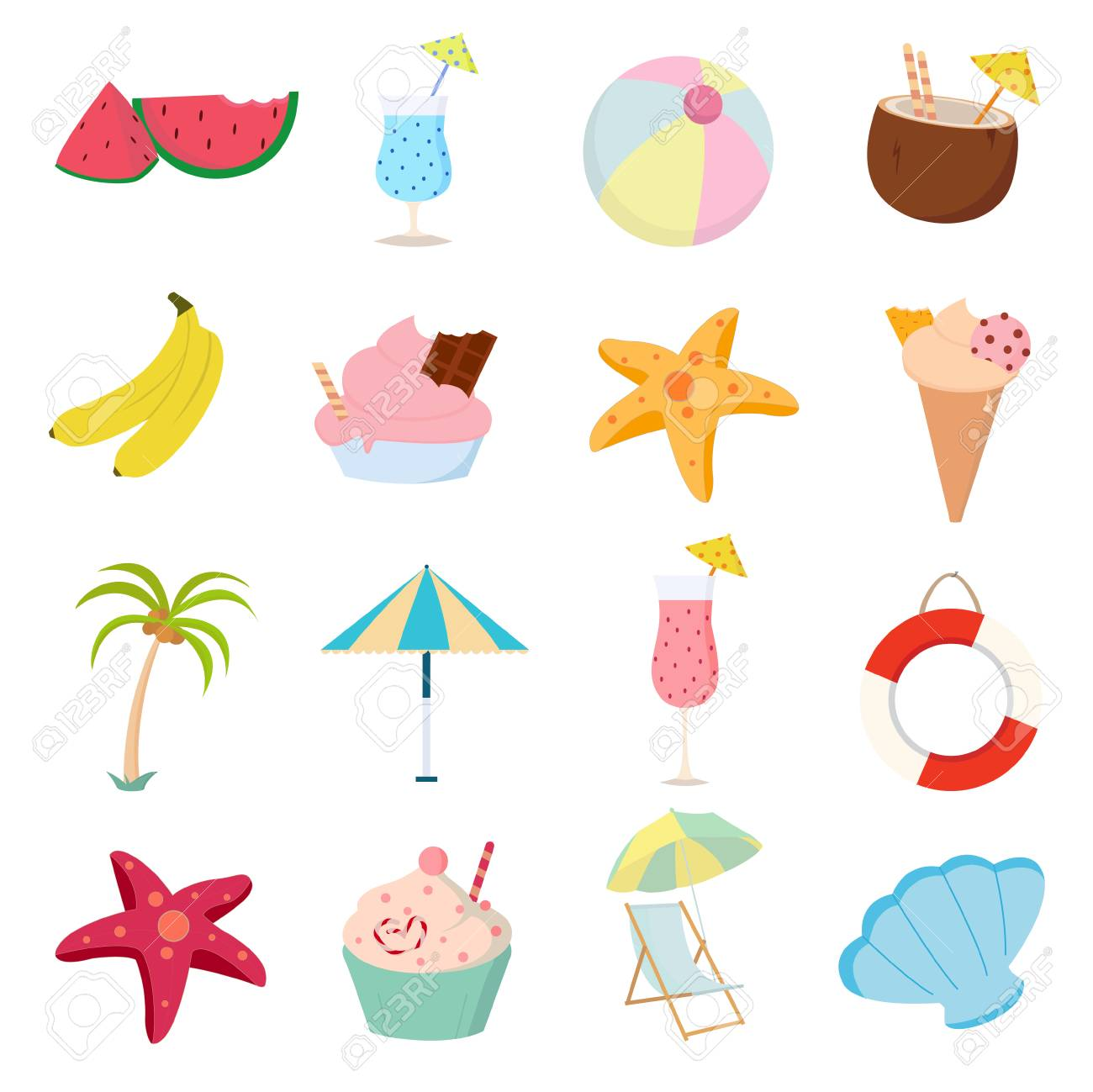 Summer icons set on white background for graphic and web design,