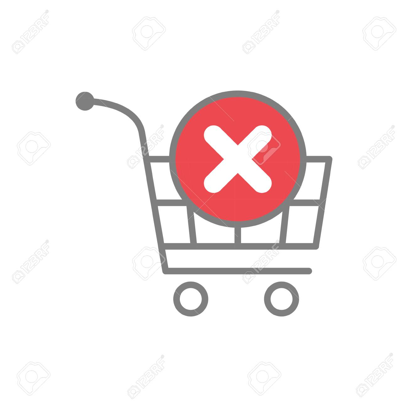 Online shopping cart remove icon on white background for graphic