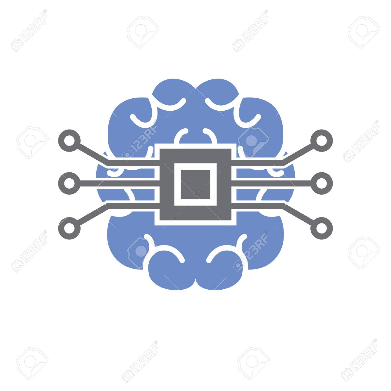 Brain cloud storage icon on white background for graphic and web design, Modern simple vector sign. Internet concept. Trendy symbol for website design web button or mobile app - 124996179