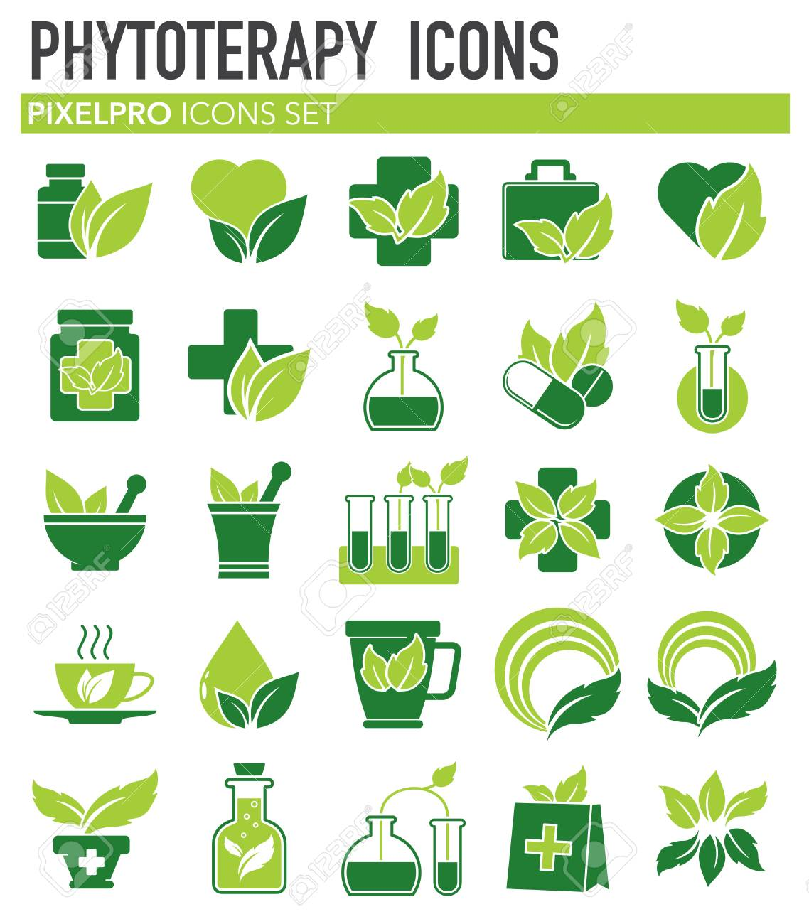 Phytoterapy icons set on white background for graphic and web design. Simple vector sign. Internet concept symbol for website button or mobile app. - 119847740