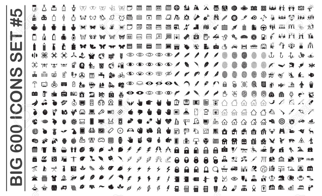 Big 600 icons set on background for graphic and web design. Simple vector sign. Internet concept symbol for website button or mobile app. - 120661221