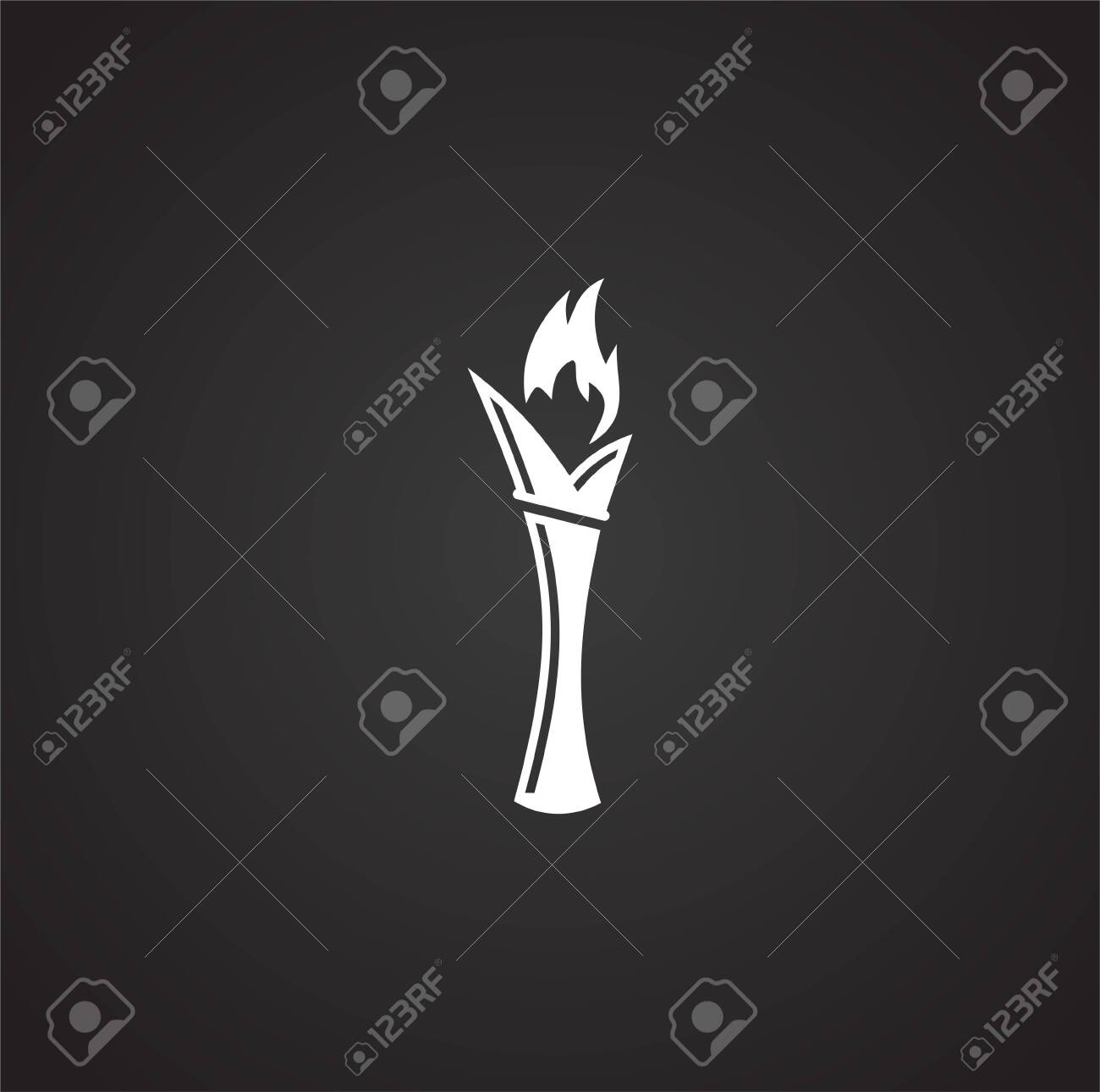 Torch icon on background for graphic and web design. Simple illustration. Internet concept symbol for website button or mobile app - 128329311