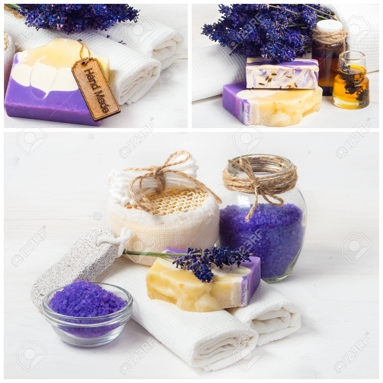 Lavender Spa Collage. Sea Salt, White Towels And Handmade Soap Stock ...