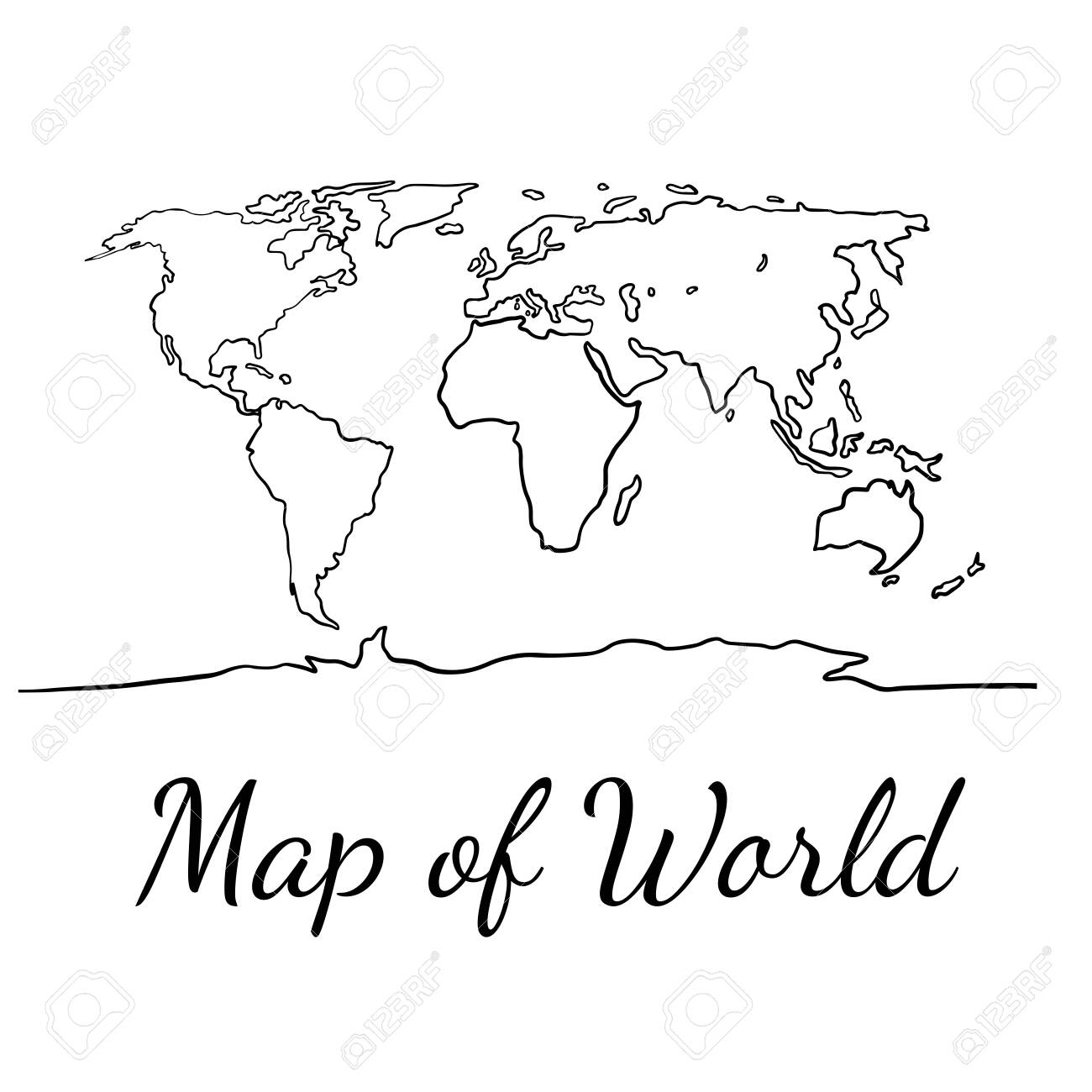 best popular world map outline graphic sketch style, background