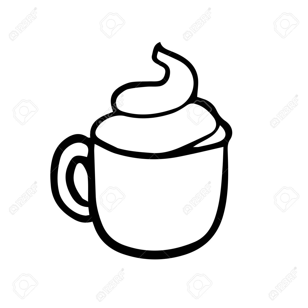 Doodle Sketch Mug With Cappuccino Cartoon Drawing Of Coffee Royalty Free Cliparts Vectors And Stock Illustration Image 126701367