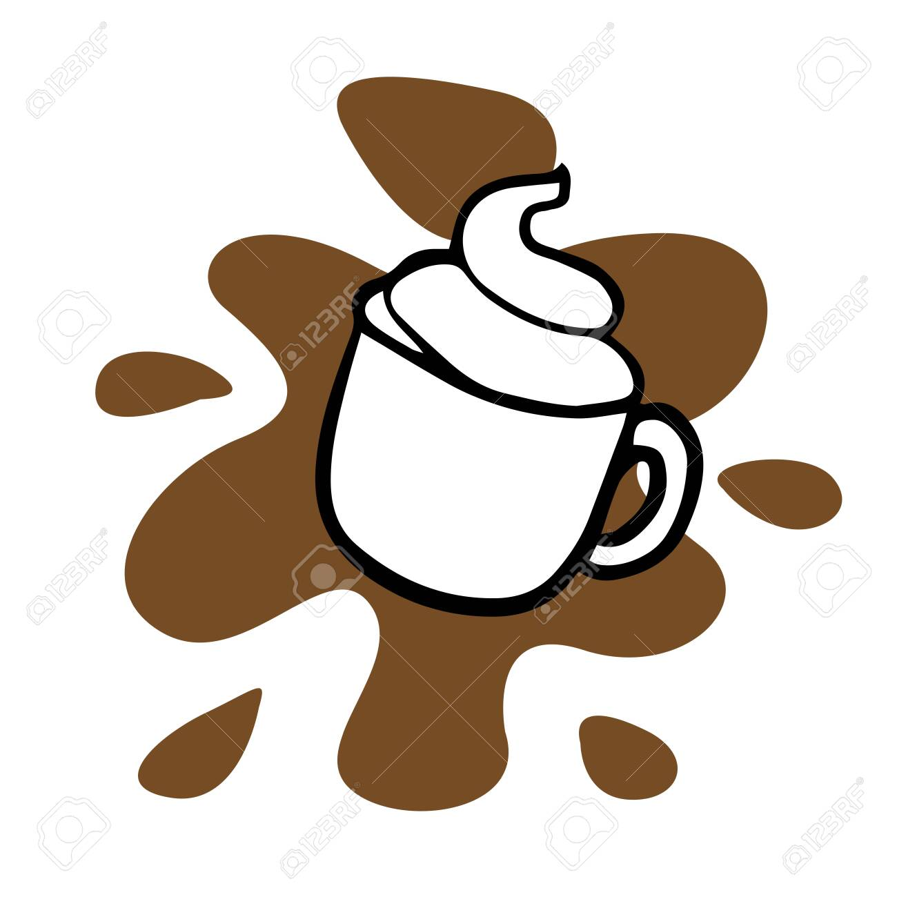 Doodle Sketch Mug With Cappuccino Cartoon Drawing Of Coffee Royalty Free Cliparts Vectors And Stock Illustration Image 130726970