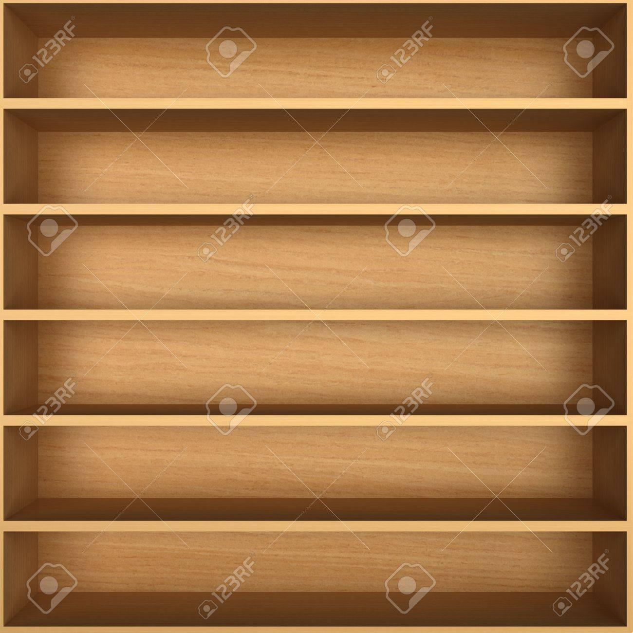 Blank wooden bookshelf Stock Photo - 20498381