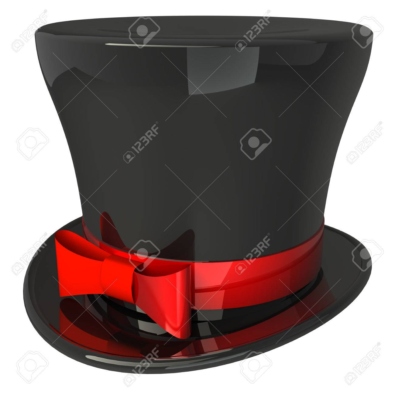5c8890ff418 Black top hat red band and bow on a white High resolution 3D Stock Photo -