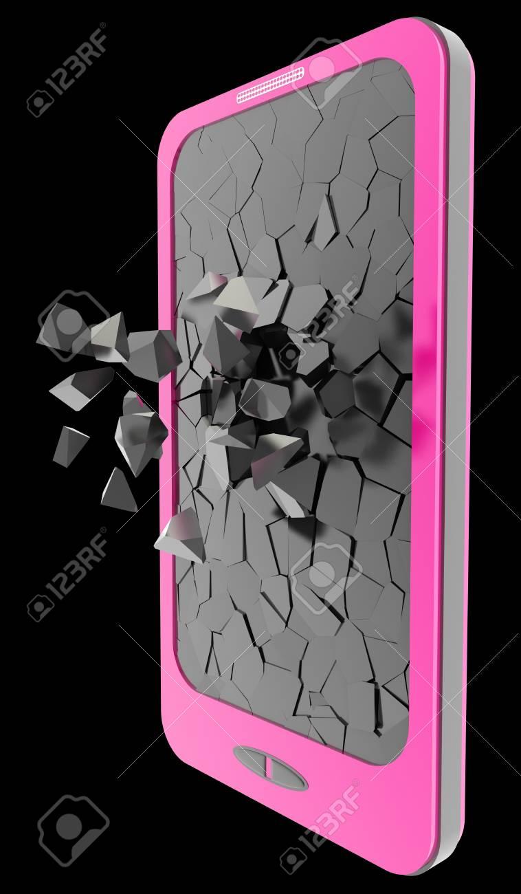 Smartphone Ecran Casse Isole Sur Fond Noir 3d Illustration Haute Resolution