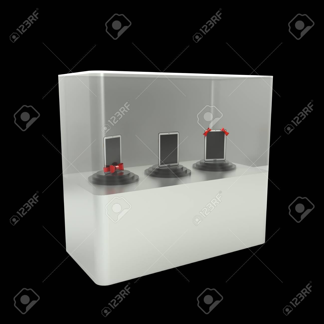 Glazen Kast Tablet Pc Geïsoleerd Op Zwarte Achtergrond 3d Illustratie Hoge Resolutie
