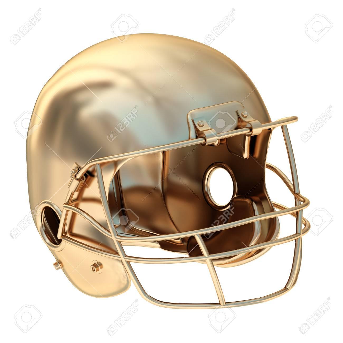 37ab6a59ee Colección de objetos de oro. casco de fútbol americano de oro. aislado  sobre fondo